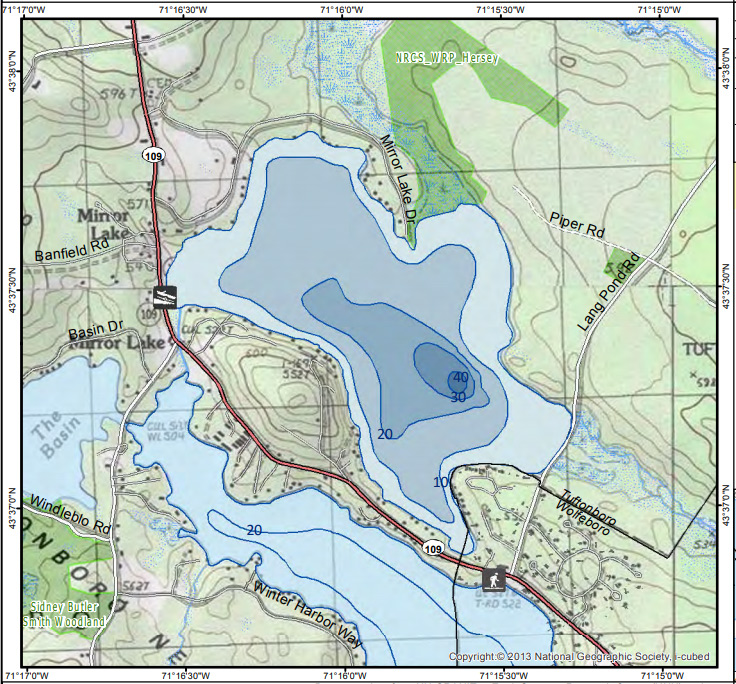 Topographical map showing Mirror Lake